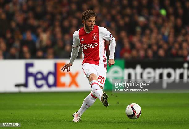 Lasse Schone of Ajax in action during the UEFA Europa League Group G match between AFC Ajax and Panathinaikos FC at Amsterdam Arena on November 24...