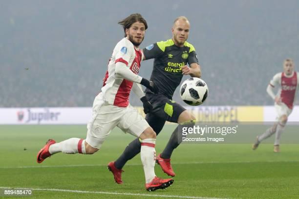 Lasse Schone of Ajax Jorrit Hendrix of PSV during the Dutch Eredivisie match between Ajax v PSV at the Johan Cruijff Arena on December 10 2017 in...