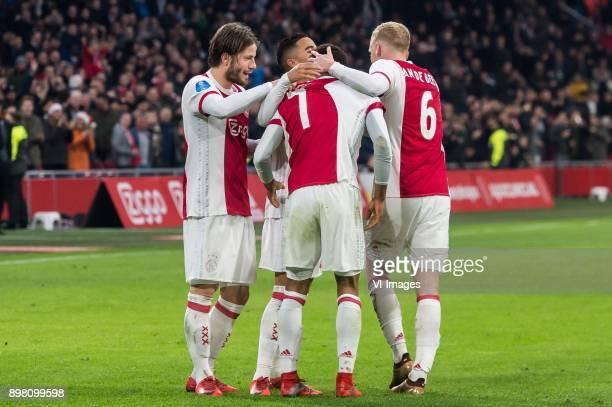 Lasse Schone of Ajax Justin Kluivert of Ajax David Neres of Ajax Donny van de Beek of Ajax during the Dutch Eredivisie match between Ajax Amsterdam...