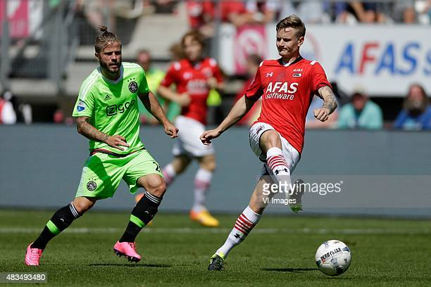 Lasse Schone of Ajax, Mattias Johansson of AZ Alkmaar during the Dutch Eredivisie match between AZ Alkmaar and Ajax Amsterdam at AFAS stadium on...