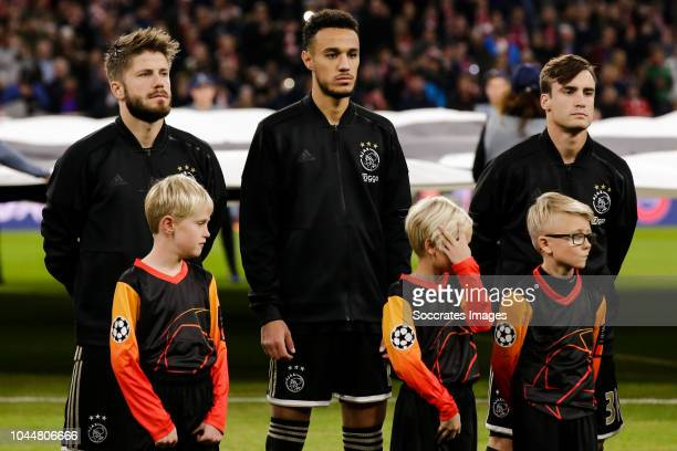 Lasse Schone of Ajax Noussair Mazraoui of Ajax Nicolas Tagliafico of Ajax during the UEFA Champions League match between Bayern Munchen v Ajax at the...