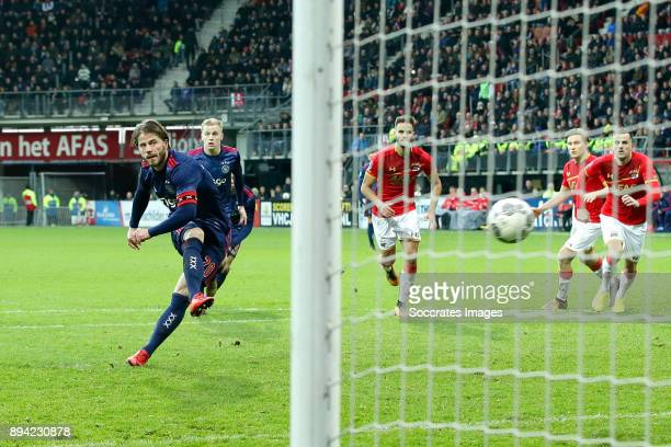 Lasse Schone of Ajax scores the third goal to make it 12 during the Dutch Eredivisie match between AZ Alkmaar v Ajax at the AFAS Stadium on December...