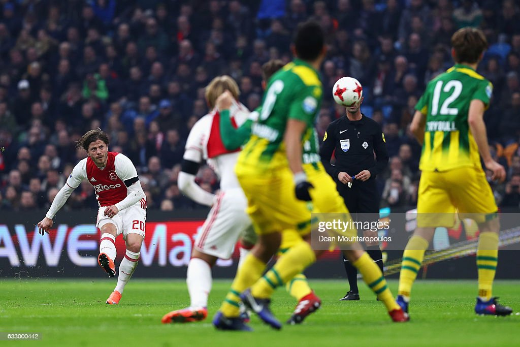 Lasse Schone of Ajax shoots and scores a goal direct from a free kick over the wall during the Eredivisie match between Ajax Amsterdam and ADO Den Haag held at Amsterdam Arena on January 29, 2017 in Amsterdam, Netherlands.