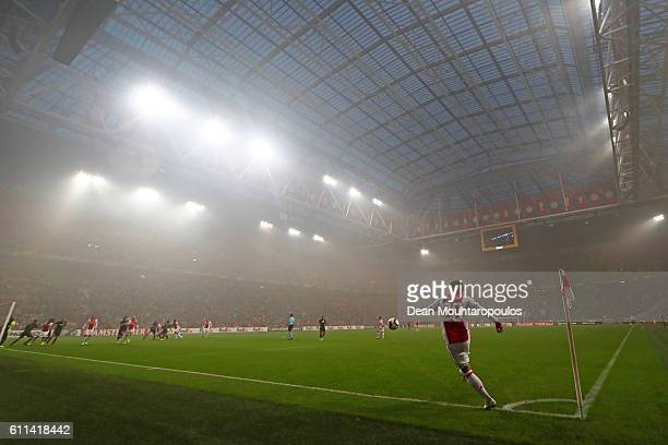 Lasse Schone of Ajax takes a corner during the UEFA Europa League group G match between AFC Ajax and R Standard de Liege at the Amsterdam Arena on...