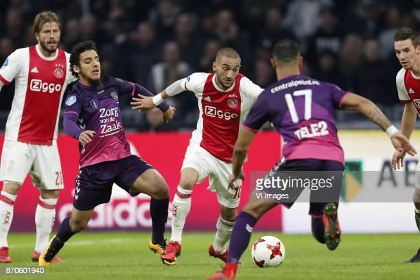Lasse Schone of Ajax Yassin Ayoub of FC Utrecht Hakim Ziyech of Ajax Sean Klaiber of FC Utrecht Nick Viergever of Ajax during the Dutch Eredivisie...