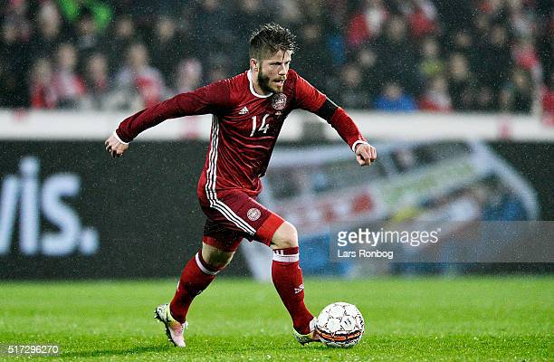 Lasse Schone of Denmark controls the ball during the international friendly match between Denmark and Iceland at MCH Arena on March 24 2016 in...