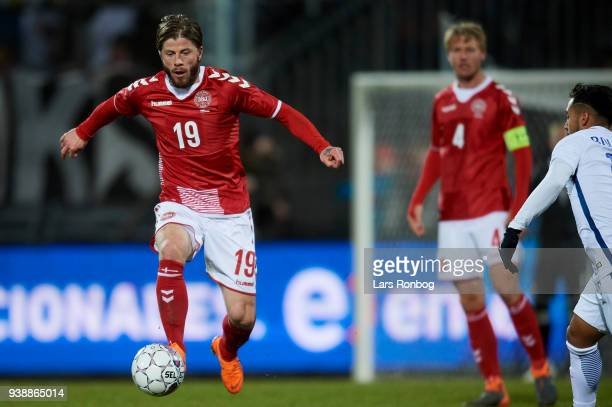 Lasse Schone of Denmark controls the ball during the International friendly match between Denmark and Chile at Aalborg Stadion on March 27 2018 in...