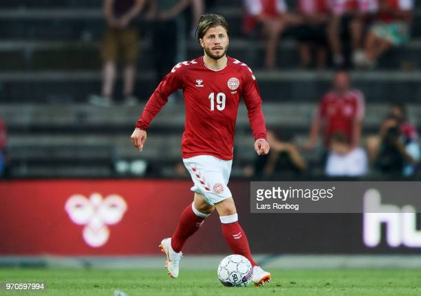 Lasse Schone of Denmark controls the ball during the international friendly match between Denmark and Mexico at Brondby Stadion on June 9 2018 in...