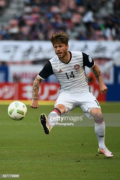 Lasse Schone of Denmark in action during the international friendly match between Bosnia and Herzegovina and Denmark at the Toyota Stadium on June 3...