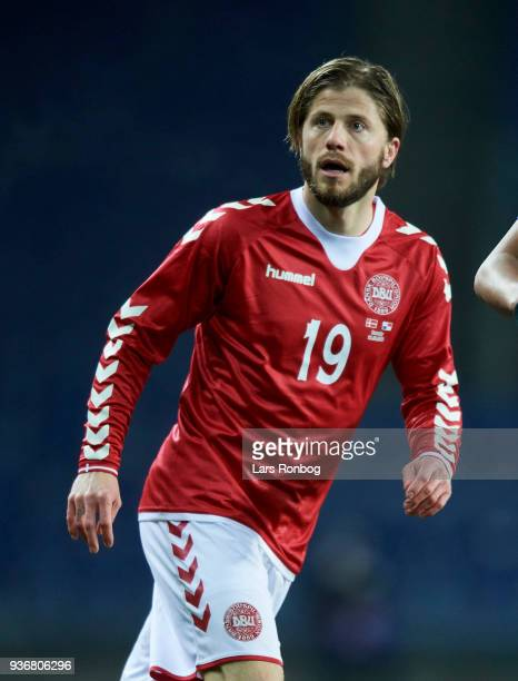 Lasse Schone of Denmark in action during the International friendly match between Denmark and Panama at Brondby Stadion on March 22 2018 in Brondby...