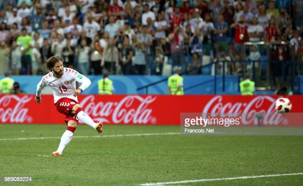 Lasse Schone of Denmark misses his team's fourth penalty in the penalty shoot out during the 2018 FIFA World Cup Russia Round of 16 match between...
