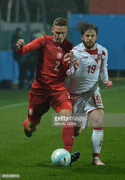 Lasse Schone of Denmark vies for a ball with Pavel Kaderabek of Czech Republic during the friendly football match Czech Republic vs Denmark in Mlada...