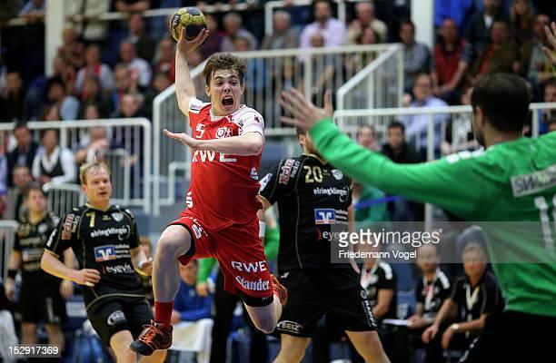 Lasse Seidel of Essen scores during the DKB Handball Bundesliga match between TUSEM Essen and TV 1893 Neuhausen at the Sportpark Am Hallo on...