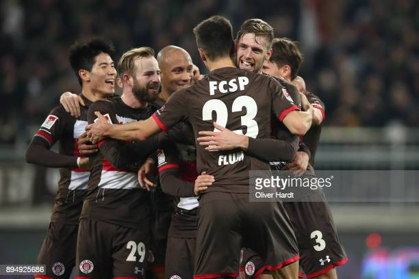 Lasse Sobiech of Pauli celebrate after his first goal during the Second Bundesliga match between FC St. Pauli and VfL Bochum 1848 at Millerntor...