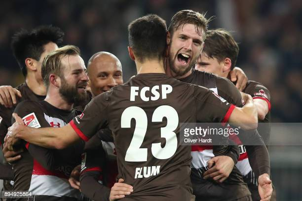 Lasse Sobiech of Pauli celebrate after his first goal during the Second Bundesliga match between FC St Pauli and VfL Bochum 1848 at Millerntor...