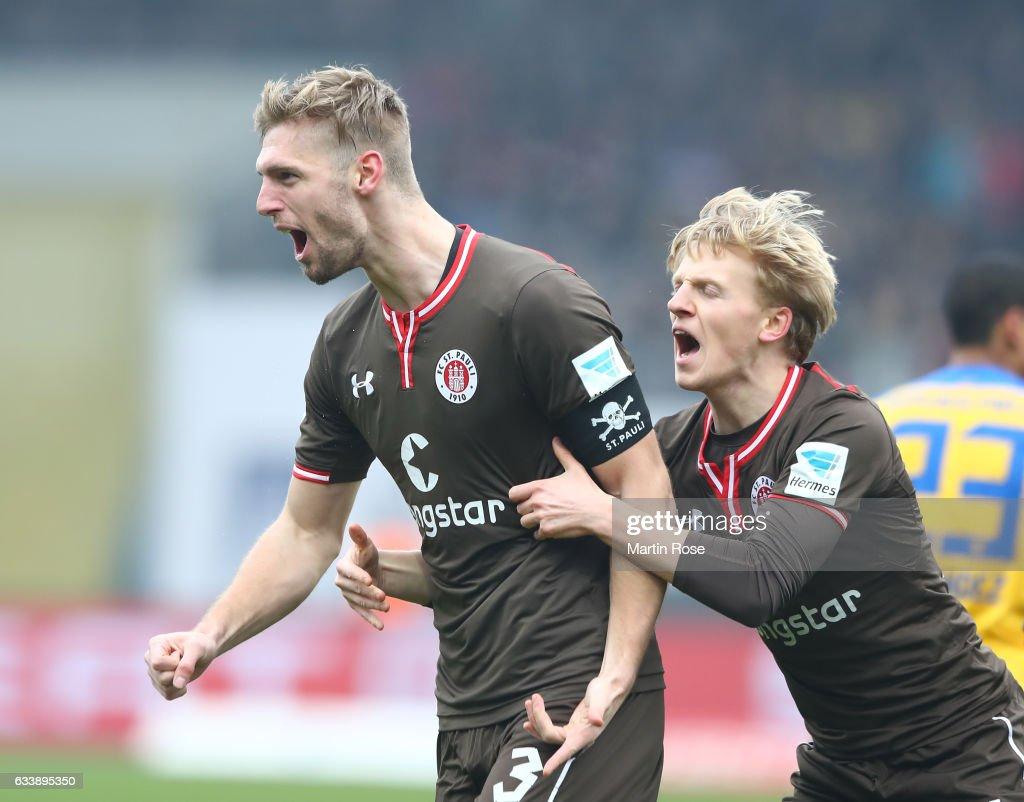Lasse Sobiech of St. Pauli celebrates scoring his goal with Mats M¿ller Daehli during the Second Bundesliga match between Eintracht Braunschweig and FC St. Pauli at Eintracht Stadion on February 5, 2017 in Braunschweig, Germany.