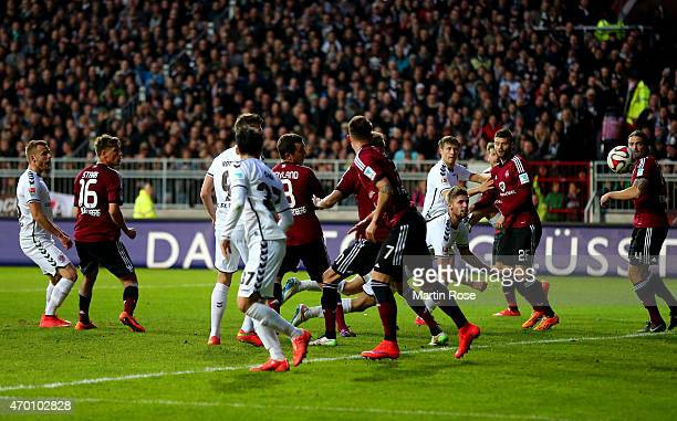 Lasse Sobiech of St Pauli heads his team winning goal during the second Bundesliga match between FC St Pauli and 1 FC Nuernberg at Millerntor Stadium...
