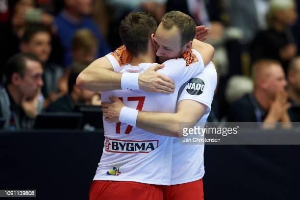 Lasse Svan of Denmark and Henrik Toft Hansen of Denmark celebrate during the IHF Men's World Championships Handball Final between Denmark and Norway...