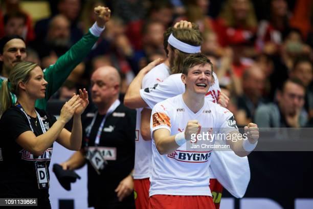 Lasse Svan of Denmark celebrate after goal during the IHF Men's World Championships Handball Final between Denmark and Norway in Jyske Bank Boxen on...