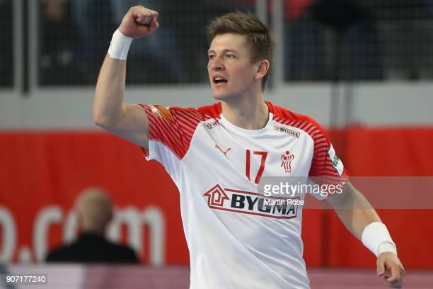 Lasse Svan of Denmark celebrates a goal during the Men's Handball European Championship main round group 2 match between Slovenia and Denmark at...