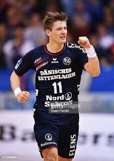 Lasse Svan of Flensburg celebrates scoring a goal during the DKB Bundesliga handball match between SG Flensburg Handewitt and SC DHFK Leipzig at...