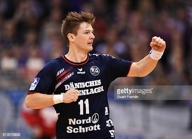 Lasse Svan of Flensburg celebrates scoring a goal during the DKB Bundesliga handball match between SG Flensburg Handewitt and SC DHFK Leipzig at...