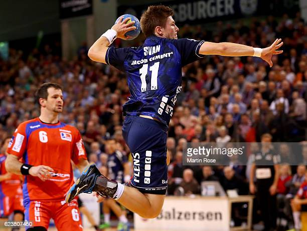 Lasse Svan of Flensburg in action during the DKB HBL Bundesliga match between SG FlensburgHandewitt and HBW BalingenWeilstetten at FlensArena on...