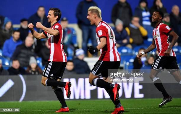 Lasse Vibe of Brentford celebrates scoring the 1st Brentford goal during the Sky Bet Championship match between Queens Park Rangers and Brentford at...