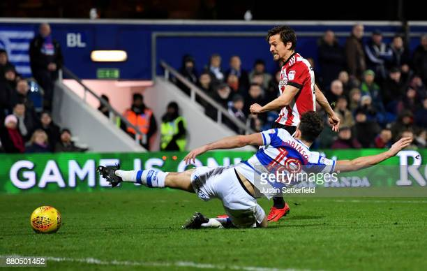 Lasse Vibe of Brentford scores the 2nd Brentford goal during the Sky Bet Championship match between Queens Park Rangers and Brentford at Loftus Road...