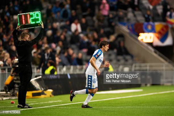 Lasse Vibe of IFK Goteborg enters the pitch during the Allsvenskan match between Djurgardens IF and IFK Goteborg at Tele2 Arena on April 15 2019 in...