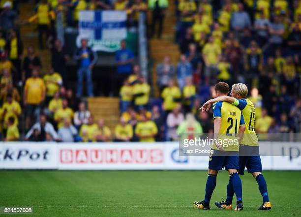 Lasse Vigen Christensen and Johan Larsson of Brondby IF celebrate after scoring their third goal during the Danish Alka Superliga match between...