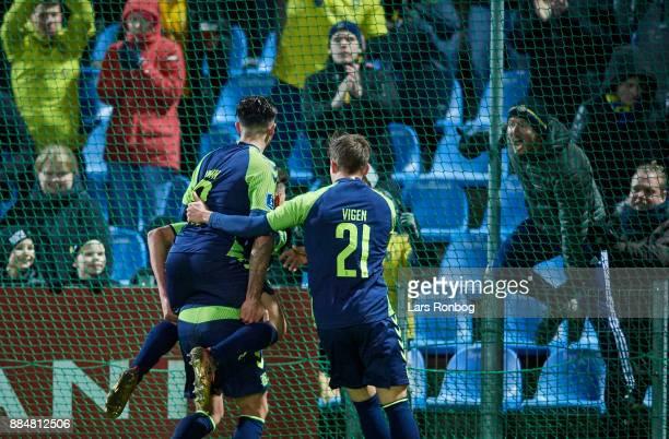 Lasse Vigen Christensen Besar Halimi and Jan Kliment of Brondby IF celebrate after scoring their third goal during the Danish Alka Superliga match...