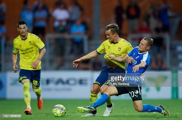Lasse Vigen Christensen of Brondby IF and Joel Allansson of Randers FC compete for the ball during the Danish Superliga match between Randers FC and...