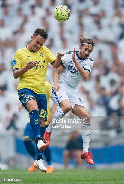 Lasse Vigen Christensen of Brondby IF and Rasmus Falk of FC Copenhagen compete for the ball during the Danish Superliga match between FC Copenhagen...