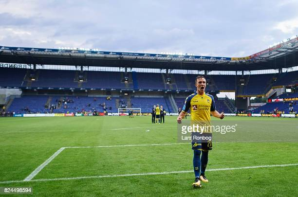 Lasse Vigen Christensen of Brondby IF celebrates after the Danish Alka Superliga match between Brondby IF and Lyngby BK at Brondby Stadion on July 30...