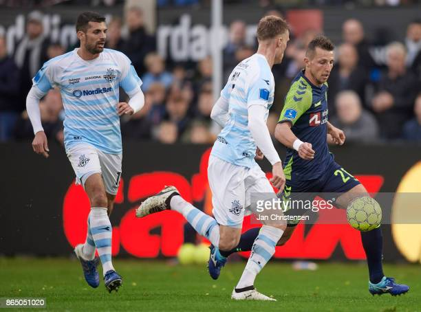 Lasse Vigen Christensen of Brondby IF compete for the ball during the Danish Alka Superliga match between FC Helsingor and Brondby IF at Helsingor...