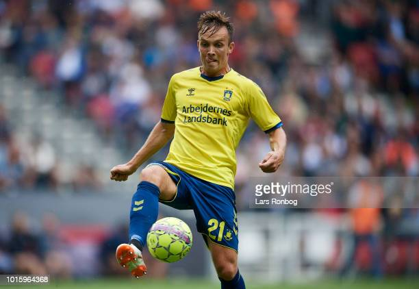 Lasse Vigen Christensen of Brondby IF controls the ball during the Danish Superliga match between FC Copenhagen and Brondby IF at Telia Parken...