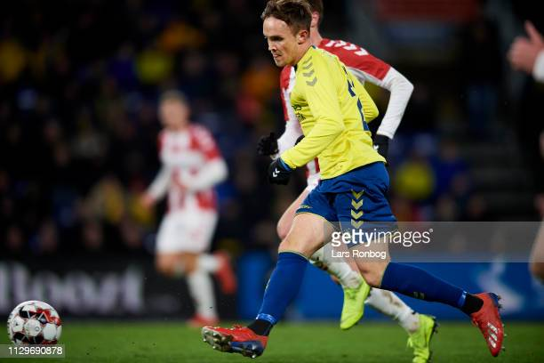 Lasse Vigen Christensen of Brondby IF in action during the Danish Superliga match between Brondby IF and AaB Aalborg at Brondby Stadion on March 10...