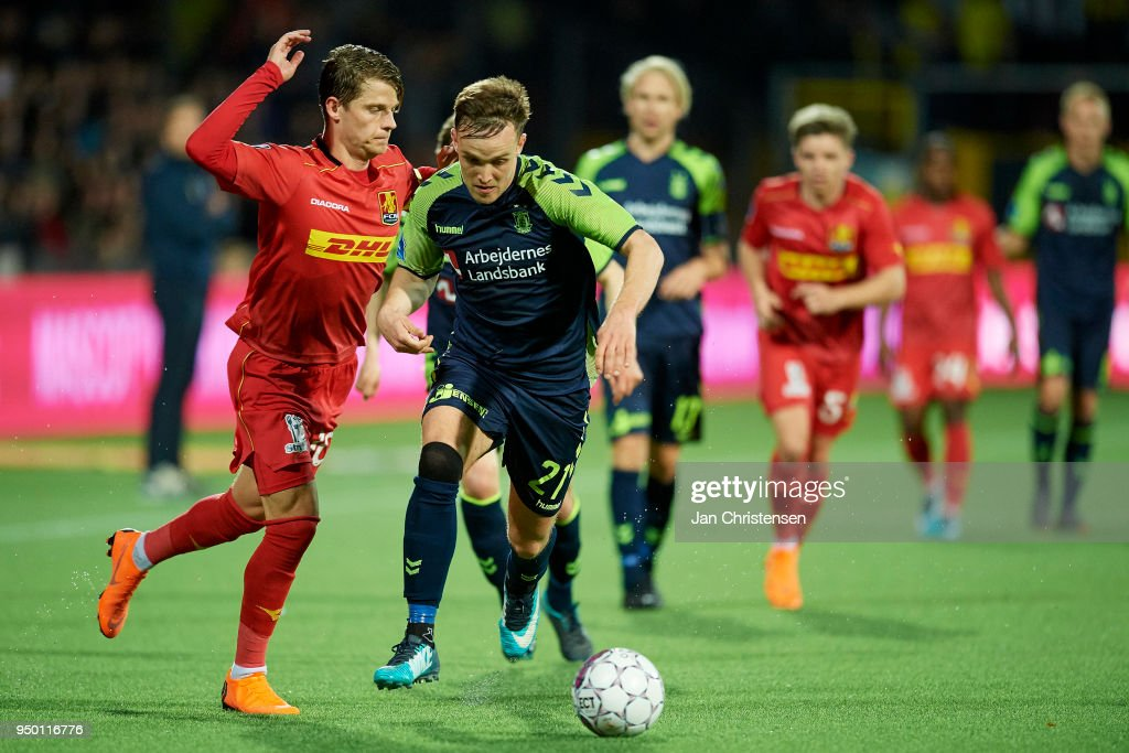 Lasse Vigen Christensen of Brondby IF in action during the Danish Alka Superliga match between FC Nordsjalland and Brondby IF at Right to Dream Park on April 22, 2018 in Farum, Denmark.