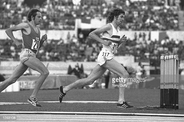 Lasse Viren of Finland trails Brendan Foster of Great Britain in the Final of the 5000 metres at the European Championships in Rome Foster finished...