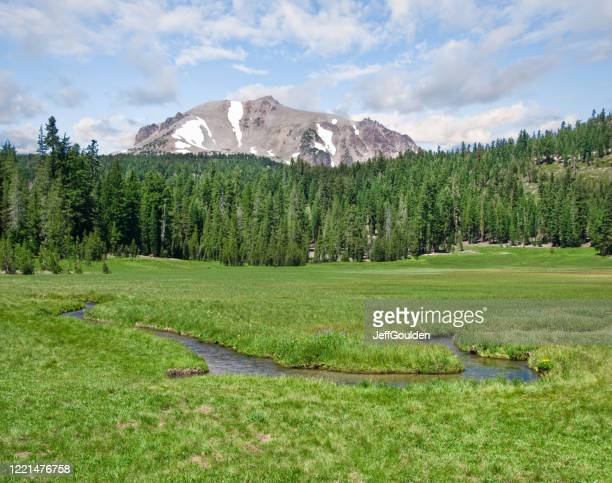lassen peak and upper meadow - jeff goulden stock pictures, royalty-free photos & images