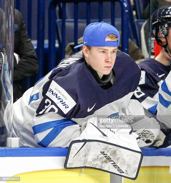 Lassi Lehtinen of Finland on the bench during the first period of play against Slovakia in the IIHF World Junior Championships at the KeyBank Center...