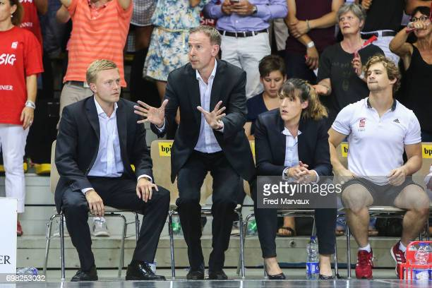 Lassi Tuovi coach assistant of Strasbourg and Vincent Collet coach of Strasbourg and Lauriane Dolt second assistant coach of Strasbourg during the...