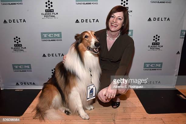 Lassie and Managing Director of TCM Classic Film Festival Genevieve McGillicuddy attend 'Lassie Come Home' during day 2 of the TCM Classic Film...