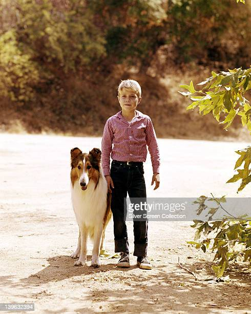 Lassie with Jon Provost US child actor wearing a red and white check shirt in an image issued as publicity for the US television series 'Lassie' USA...