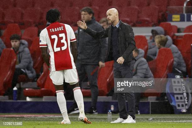 AMSTERDAM Lassina Traore of Ajax Ajax coach Erik ten Hag during the UEFA Champions League match in group D between Ajax Amsterdam and Liverpool FC at...