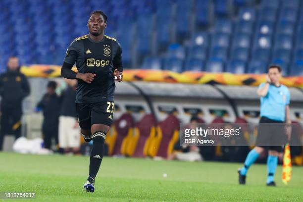 Lassina Traore of Ajax during the UEFA Europa League Quarter Final: Leg Two match between AS Roma and Ajax at Stadio Olimpico on April 15, 2021 in...