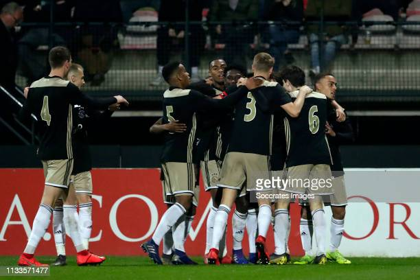Lassina Traore of Ajax U23 celebrates with Jurrien Timber of Ajax U23, Sven Botman of Ajax U23, Vaclav Cerny of Ajax U23, Perr Schuurs of Ajax U23,...