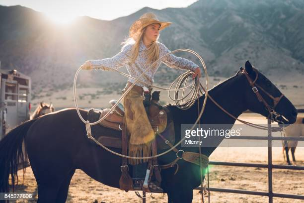 lassoing training teenage cowgirl - mlenny photography stock pictures, royalty-free photos & images