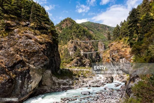 last bridge to namche bazaar - last stock pictures, royalty-free photos & images